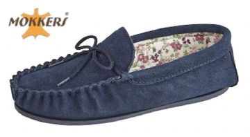 Ladies Real Suede Leather Moccasin with Hard-wearing Sole  NAVY